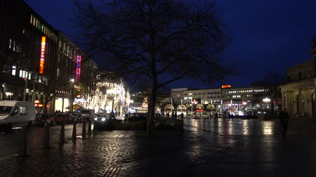 oper : Hannover, Germany - December 04, 2017: Georgstrasse in Hannover at winter evening. Lower Saxony