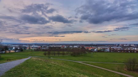 Silhouette of Hanover from the Kronsberg hill on the suburb of the city in the winter evening. Lower Saxony. Germany.