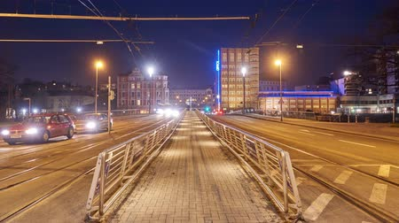 Hannover street view at winter evening. Time lapse. 4K.