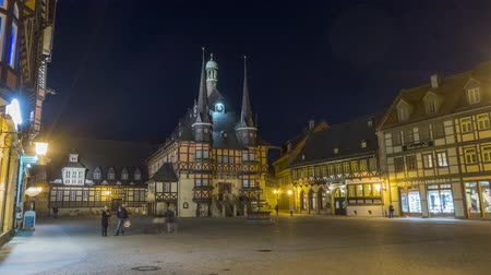 lumber : Wernigerode, Germany - February 25, 2017: Town hall in Wernigerode, Germany Time lapse 4K