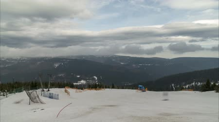 Ski resort Wurmberg in Braunlage. One of the largest ski resorts in north Germany. Time lapse. 影像素材