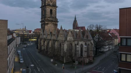 hanover : Hannover, Germany - March 01, 2018: The Aegidien Church in Hanover, Germany Time lapse 4K Stock Footage