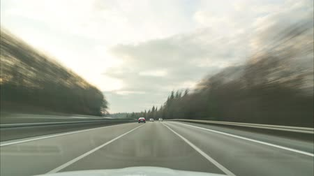 Time lapse of a driving on the longest German Autobahn A7 on the site between Fulda and Kassel. 4K.