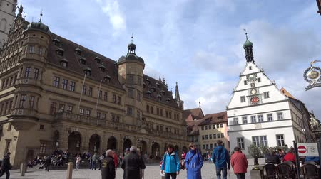 historical germany : Rothenburg ob der Tauber, Germany - March 31, 2018: Street view of Rothenburg ob der Tauber, a well-preserved medieval old town in Middle Franconia in Bavaria on popular Romantic Road through southern Germany.