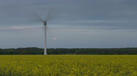 Spring evening, wind generator and rising of the full moon on the suburb of Hanover. Time lapse.