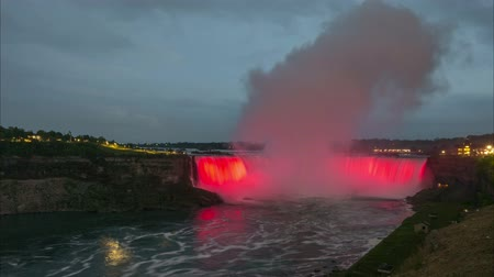 The Horseshoe Falls section of Niagara Falls. Time lapse. 4K.