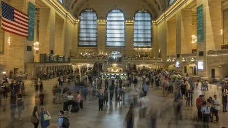 New York, USA - June 28, 2018: Time lapse of crowds of people in Grand Central Station in New York. 4K.