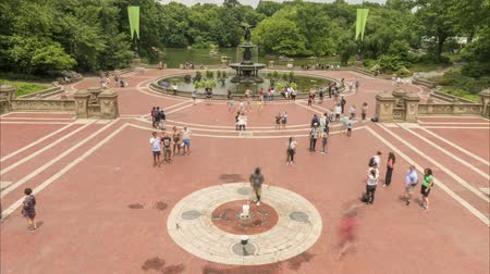 New York City, USA - June 28, 2018: New York City Central Park Bethesda Fountain. Time lapse. 4K