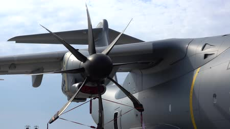 Wunstorf, Germany - June 09, 2018: Bundeswehr Open Day on air base Wunstorf. The Airbus A400M turboprop close up