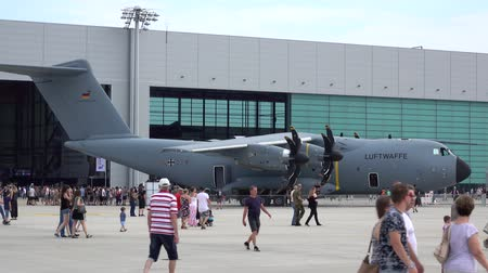 Wunstorf, Germany - June 09, 2018: Bundeswehr Open Day on air base Wunstorf. The Airbus A400M turboprop