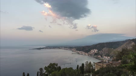 Panoramic morning view of Taormina in Sicily, Italy. Time lapse.