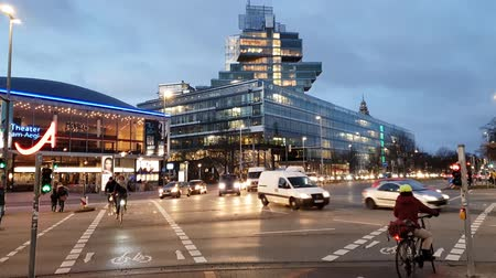 Hannover, Germany - December 10, 2018: Morning traffic on Aegi square in Hannover. Lower Saxony. Germany