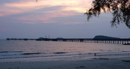 sea and pier in the evening at Sattahip ,Thailand