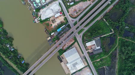 surat : Aerial view video above Sri Surat bridge in Surat Thani Thailand