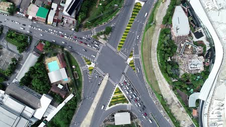 vector : Aerial Drone Flight View of vehicular intersection with cars on the road and tunnel under asphalt road