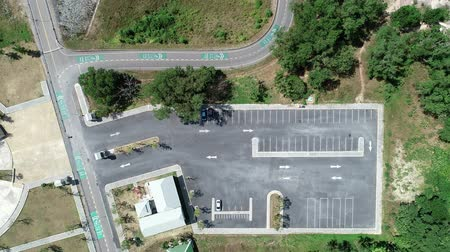 zaparkoval : Aerial view Top down Drone shot Flying Above empty parking lot in the park