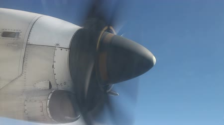 pervane : Closeup propeller from airplane window Stok Video