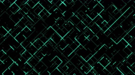 block chain : Abstract neon glowing lines, stripes and dots running on grid. Seamless lopped motion futuristic tech background Stock Footage