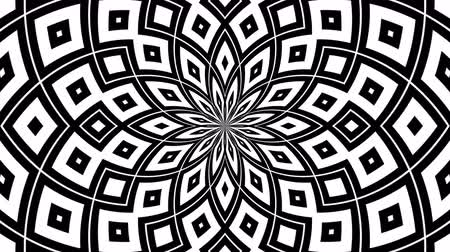 zebry : Abstract flowing striped kaleidoscope tunnel optical illusion. Black and white lines motion pattern. Seamless loop background
