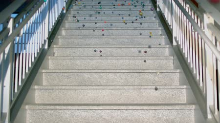 bouncy balls on marble steps