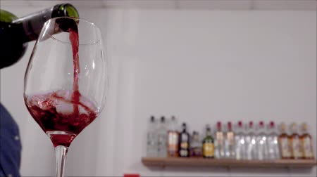 официант : Red Wine Swirling in Glass Slow Motion