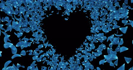 okvětní lístky : Animation of romantic flying blue rose sakura flower petals in shape of heart with alpha matte placeholder. For St. Valentines Day, Mothers Day, wedding anniversary greeting cards, wedding invitation or birthday e-card. Seamless loop 4k Dostupné videozáznamy