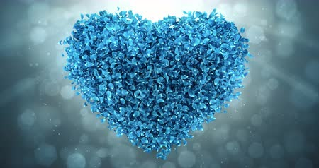 pétala : Animation of romantic flying blue rose sakura flower petals in shape of lovely heart backdrop. For St. Valentines Day, Mothers Day, wedding anniversary greeting cards, wedding invitation or birthday e-card. Seamless loop 4k