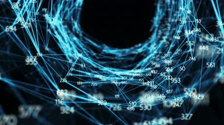 lejek : Digital Plexus Tunnel Funnel backdrop made of random digit nodes and connection paths. For presentations, motion backgrounds, medical dashboards, science, hi-tech, internet. Seamless Loop Wideo