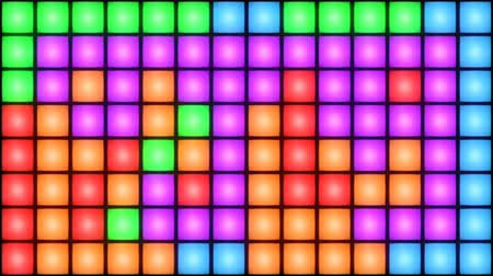rasgele : Colorful Disco nightclub dance floor LED dancing wall glowing light grid dancefloor musical background vj seamless loop club animation