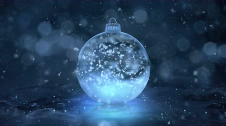 hó : Christmas and New Year Rotating Blue Ball Ice Glass Bauble Decoration with snowflakes inside. Perfect for wishing your viewers a Merry Christmas and a Happy New Year! Background 4k Stock mozgókép