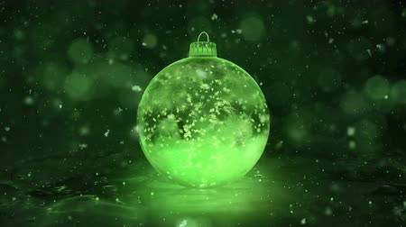 безделушка : Christmas and New Year Rotating Green Ball Ice Glass Bauble Decoration with snowflakes inside. Perfect for wishing your viewers a Merry Christmas and a Happy New Year! Background 4k