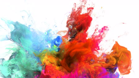 pop art background : Color Burst - colorful orange cyan magenta pink blue smoke explosion from below fluid gas ink particles slow motion alpha matte isolated on white