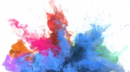 yellow ink : Color Burst - colorful blue orange pink yellow cyan smoke explosion from below fluid gas ink particles slow motion alpha matte isolated on white