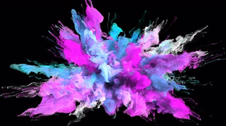explodir : Color Burst - colorful magenta cyan pink blue smoke explosion fluid gas ink particles slow motion alpha matte isolated on black Stock Footage
