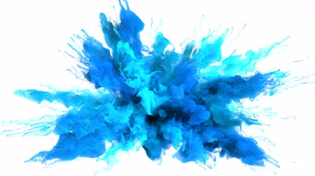 kitörés : Color Burst - colorful blue cyan smoke explosion fluid gas ink particles slow motion alpha matte isolated on white Stock mozgókép