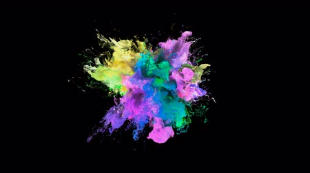 pukkanás : Color Burst - colorful yellow pink blue green smoke explosion fluid gas ink particles slow motion alpha matte isolated on black wide shot Stock mozgókép