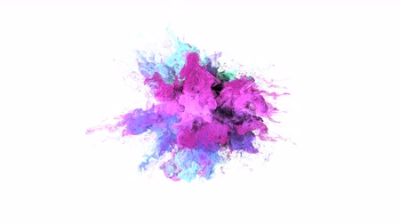 estalo : Color Burst - colorful purple magenta pink cyan smoke explosion fluid gas ink particles slow motion alpha matte isolated on white wide shot