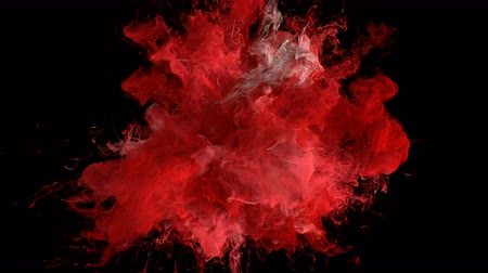 yanma : Red Color Burst - colorful smoke explosion fluid particles alpha matte Stok Video