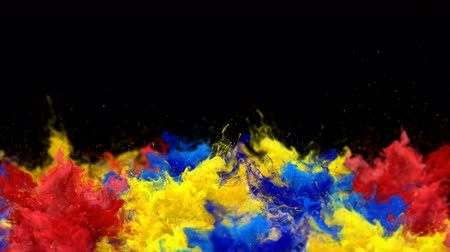 inkoust : Color Burst - Multiple colorful smoke explosions fluid powder liquid gas particles slow motion alpha matte