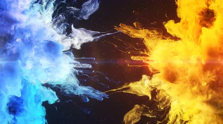 vibrující : Color Burst - two blue yellow colorful smoke explosions fluid powder liquid gas particles slow motion alpha matte