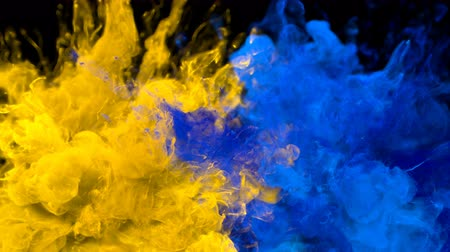 estrondo : Yellow Blue Color Burst - Multiple colorful smoke powder explosion fluid ink particles slow motion alpha matte isolated on black Stock Footage