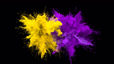 kitörés : Yellow Purple Color Burst - Multiple colorful smoke powder explosion fluid ink particles slow motion alpha matte isolated on black