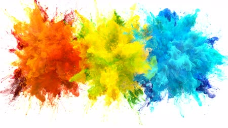 pulverização : Orange Yellow Blue Color Burst - Multiple colorful smoke powder explosion fluid ink particles slow motion alpha matte isolated on white Stock Footage
