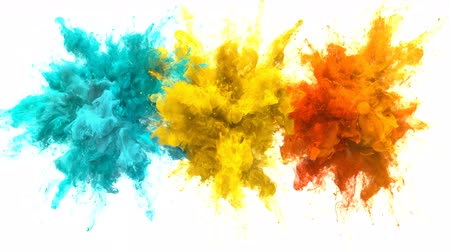 yanma : Cyan Yellow Orange Color Burst - Multiple colorful smoke powder explosion fluid ink particles slow motion alpha matte isolated on white