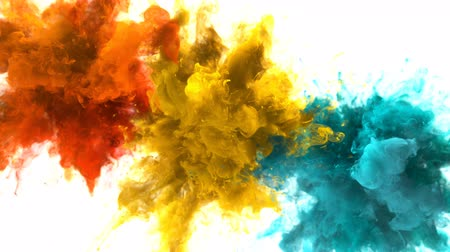 combustão : Orange Yellow Cyan Color Burst - Multiple colorful smoke powder explosion fluid ink particles slow motion alpha matte isolated on white Vídeos