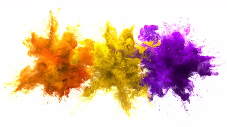 kitörés : Orange Yellow Purple Color Burst - Multiple colorful smoke powder explosion fluid ink particles slow motion alpha matte isolated on white