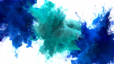 kitörés : Blue Cyan Color Burst - Multiple colorful smoke powder explosion fluid ink particles slow motion alpha matte isolated on white Stock mozgókép