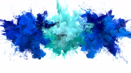yanma : Blue Cyan Color Burst - Multiple colorful smoke powder explosion fluid ink particles slow motion alpha matte isolated on white Stok Video