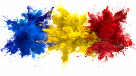 combustão : Blue Yellow Red Color Burst - Multiple colorful smoke powder explosion fluid ink particles slow motion alpha matte isolated on white Vídeos