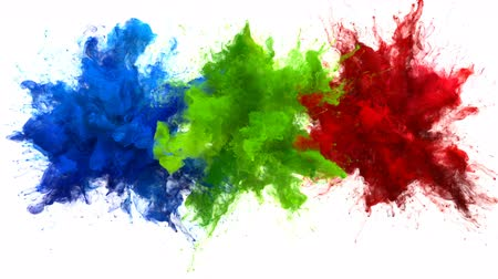 inkoust : Blue Green Red Color Burst - Multiple colorful smoke powder explosion fluid ink particles slow motion alpha matte isolated on white